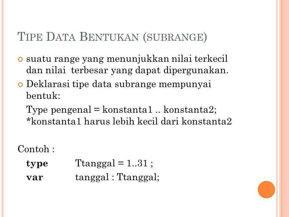 Tipe Data Bentukan (subrange)