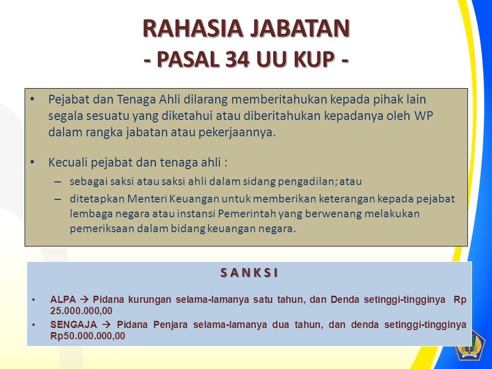 RAHASIA JABATAN - PASAL 34 UU KUP -