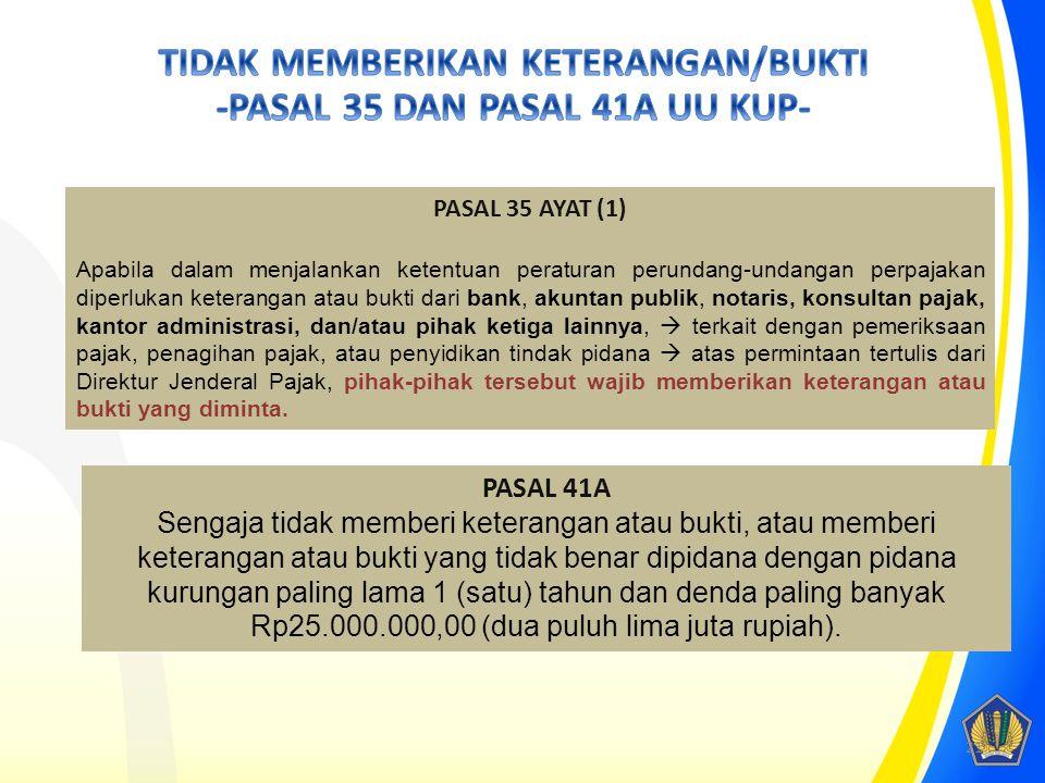 TIDAK MEMBERIKAN KETERANGAN/BUKTI -PASAL 35 DAN PASAL 41A UU KUP-