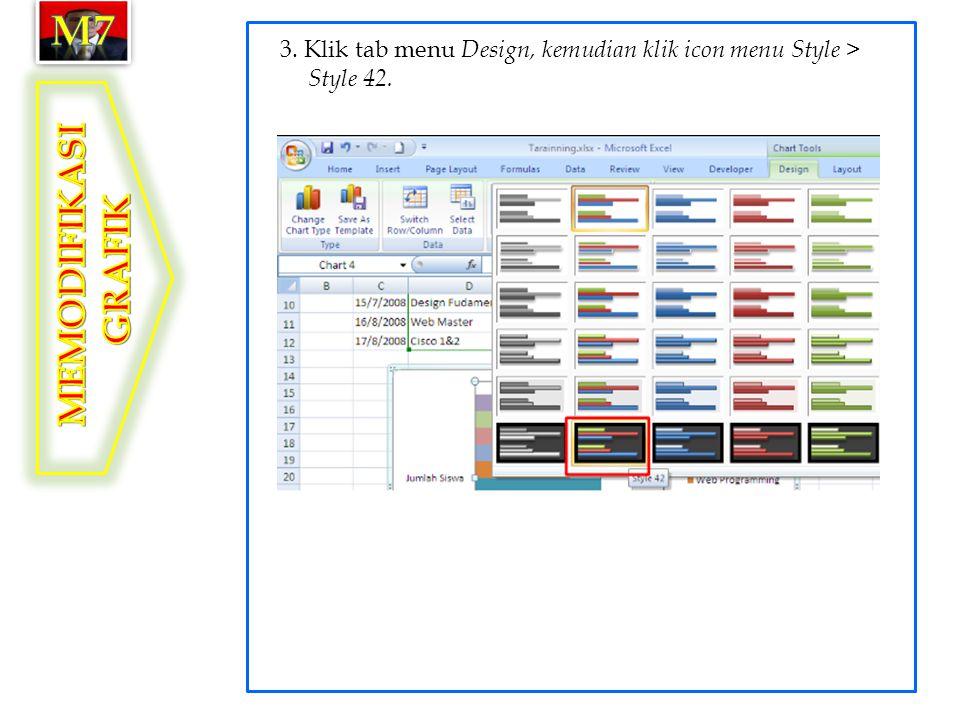 m7 3. Klik tab menu Design, kemudian klik icon menu Style > Style 42. MEMODIFIKASI GRAFIK