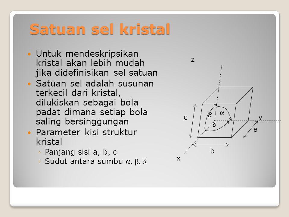 Satuan sel kristal Untuk mendeskripsikan kristal akan lebih mudah jika didefinisikan sel satuan.