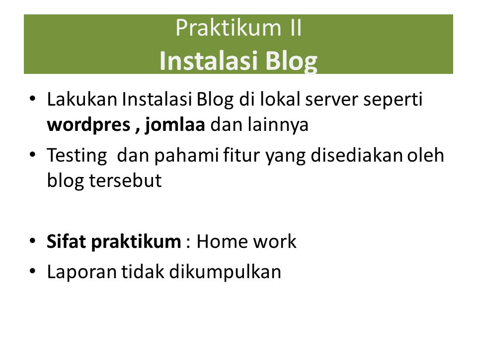 Praktikum II Instalasi Blog