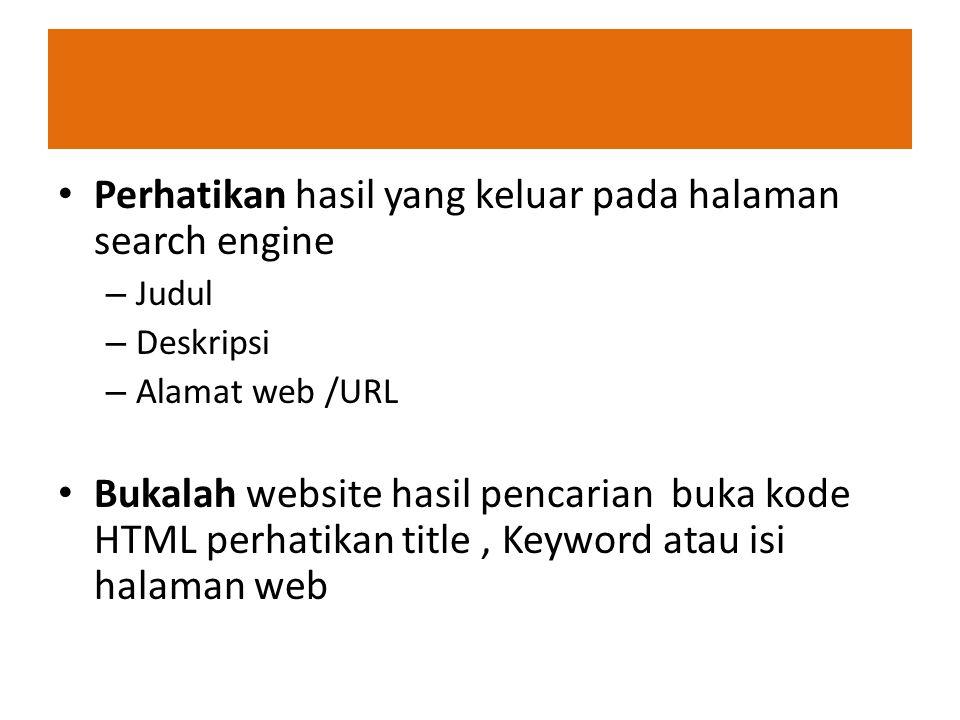 Perhatikan hasil yang keluar pada halaman search engine