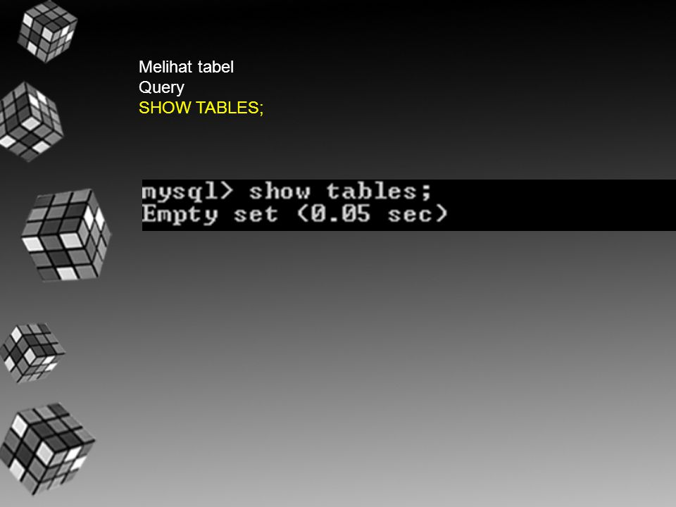 Melihat tabel Query SHOW TABLES;