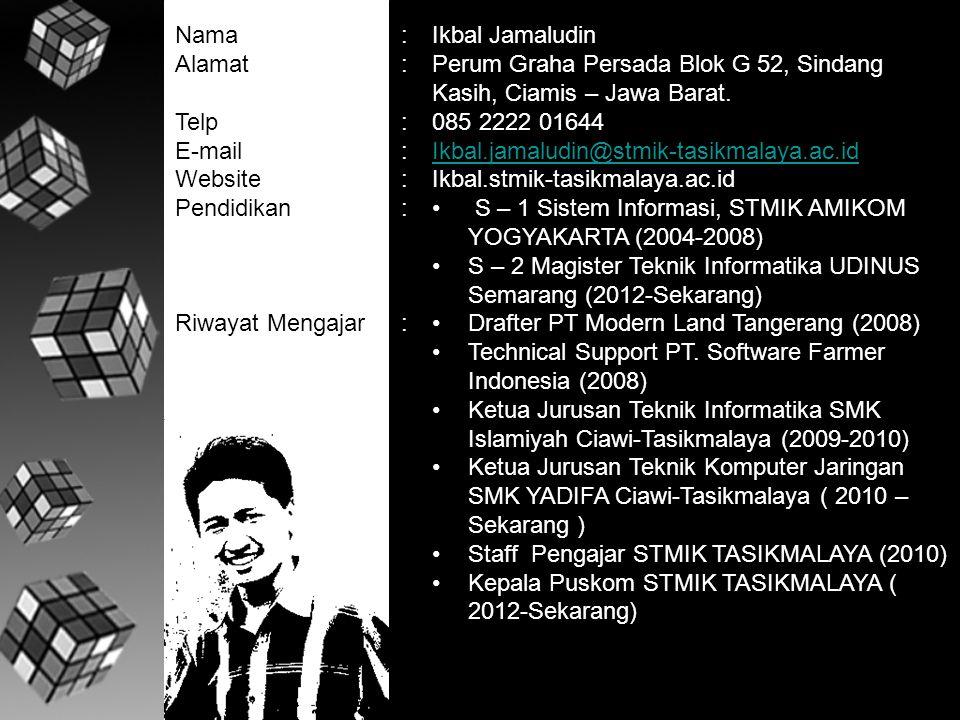 Nama Alamat. Telp. E-mail. Website. Pendidikan. Riwayat Mengajar. : Ikbal Jamaludin.
