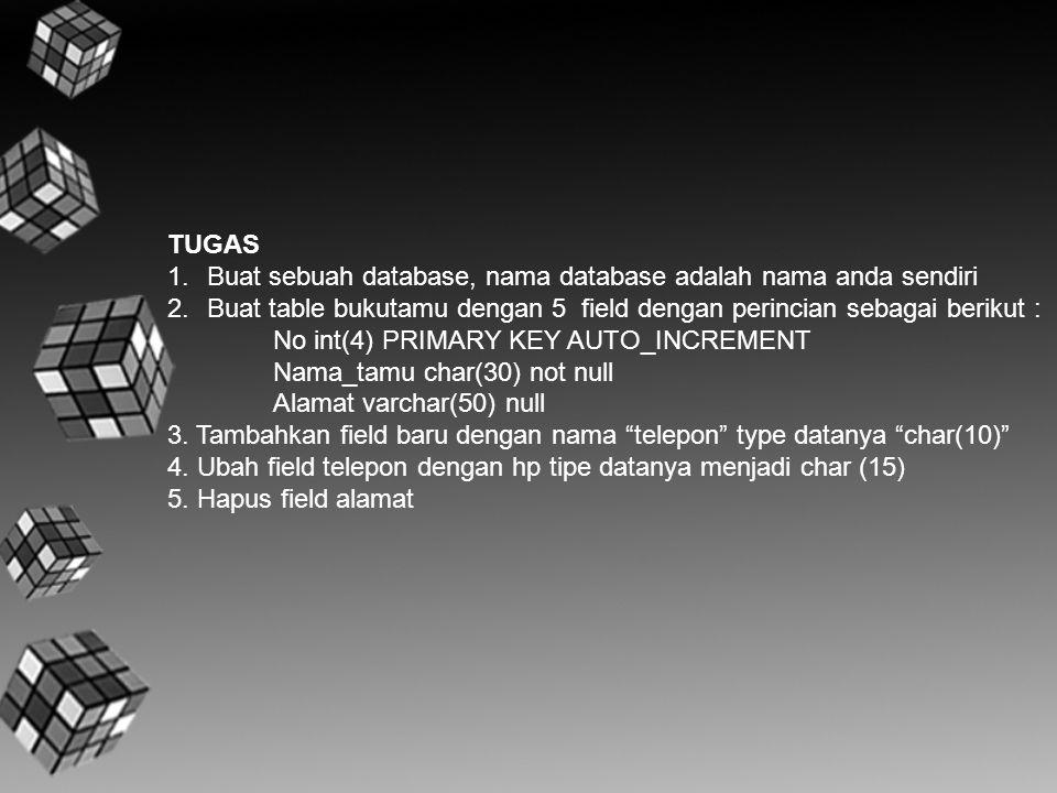 TUGAS Buat sebuah database, nama database adalah nama anda sendiri. Buat table bukutamu dengan 5 field dengan perincian sebagai berikut :