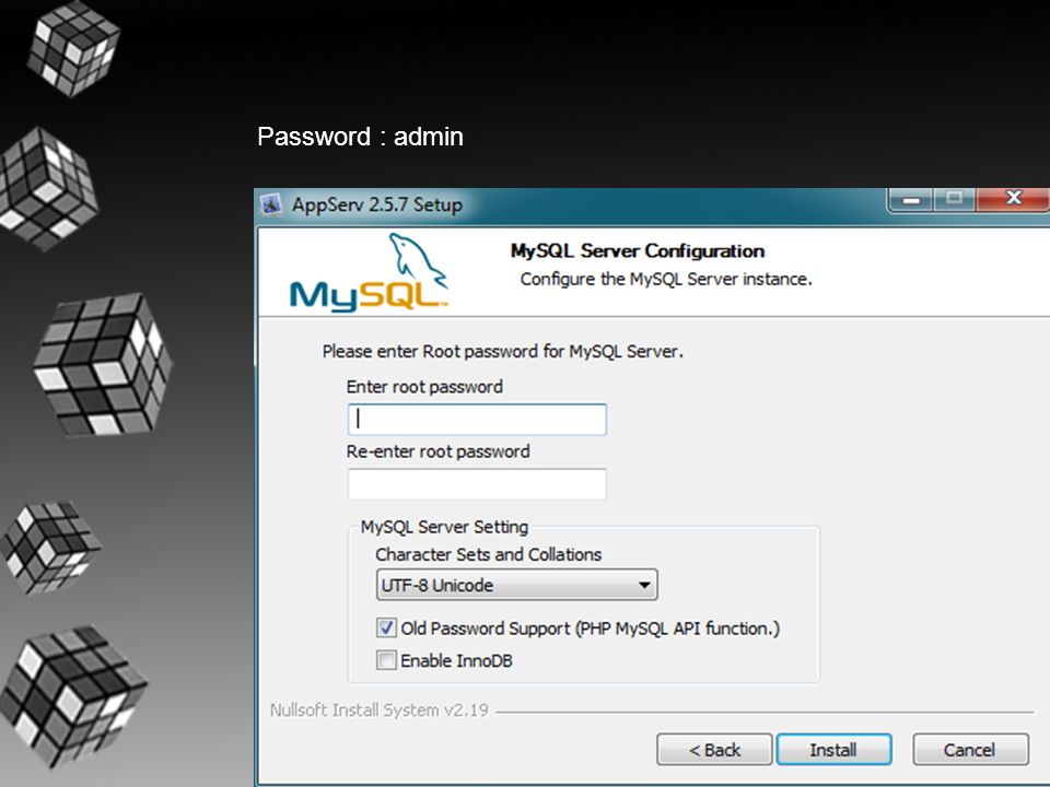 Password : admin