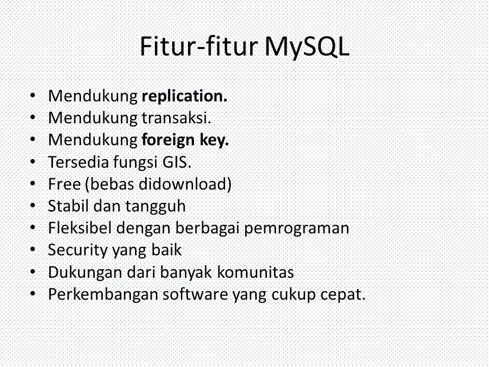 Fitur-fitur MySQL Mendukung replication. Mendukung transaksi.