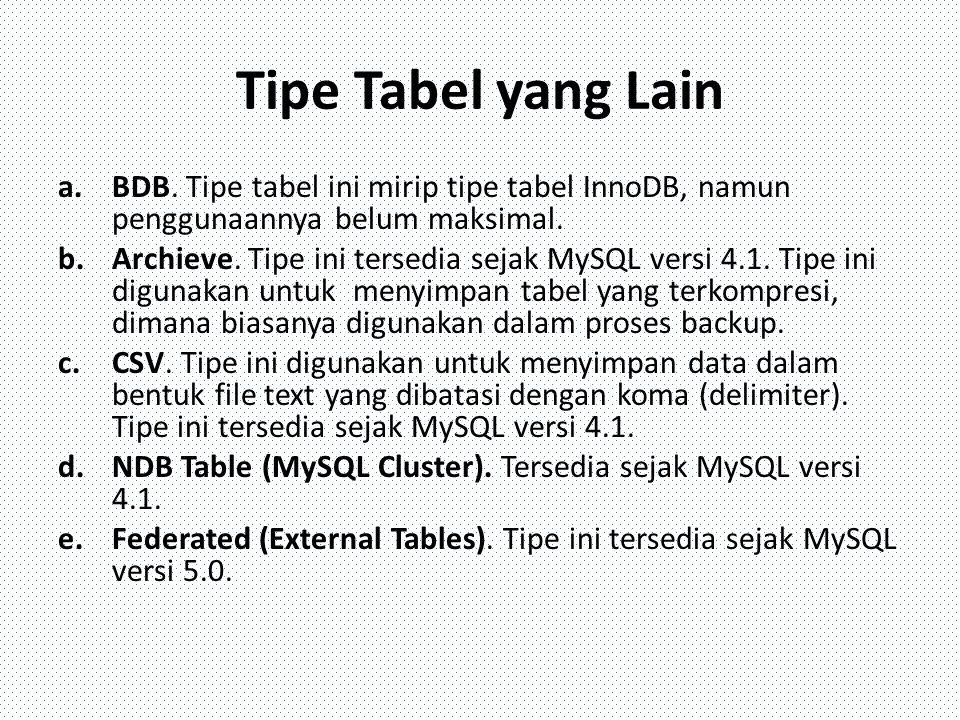 Tipe Tabel yang Lain BDB. Tipe tabel ini mirip tipe tabel InnoDB, namun penggunaannya belum maksimal.