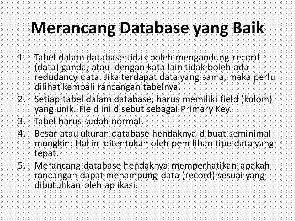 Merancang Database yang Baik