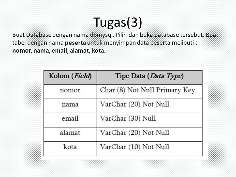 Tugas(3) Buat Database dengan nama dbmysql. Pilih dan buka database tersebut. Buat tabel dengan nama peserta untuk menyimpan data peserta meliputi :