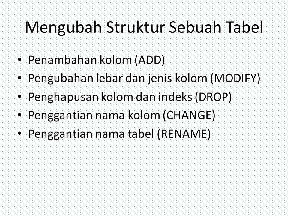 Mengubah Struktur Sebuah Tabel