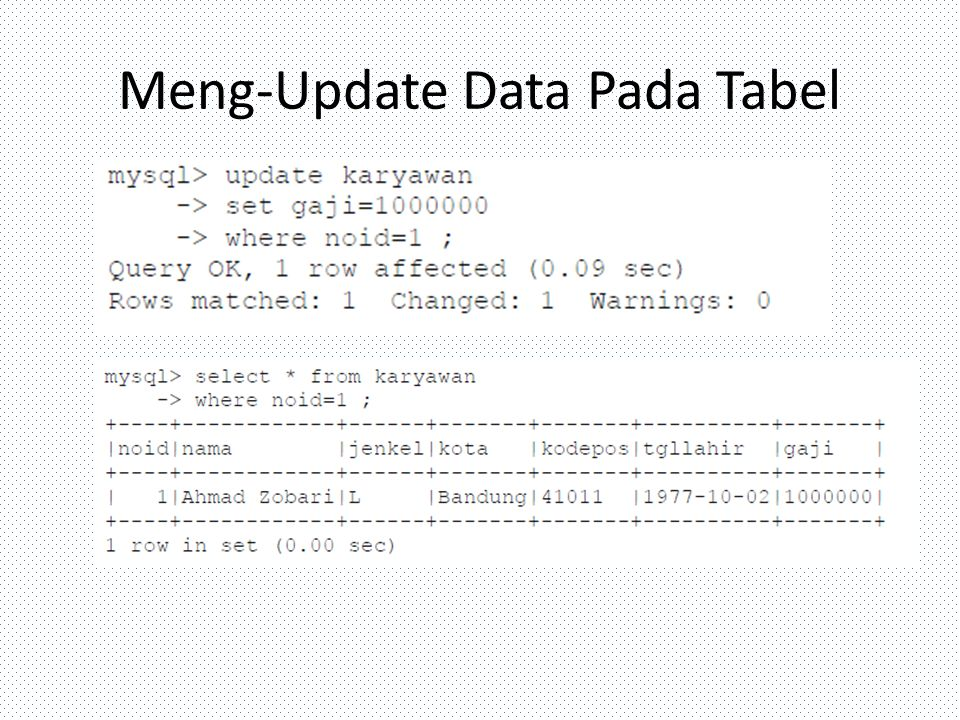 Meng-Update Data Pada Tabel