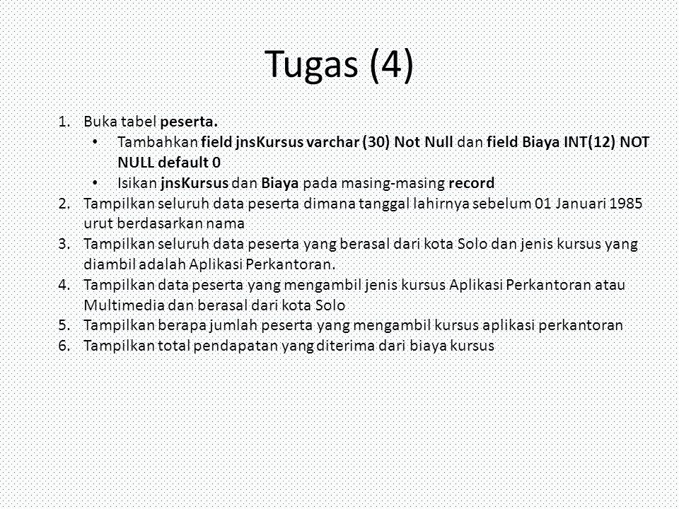Tugas (4) Buka tabel peserta.