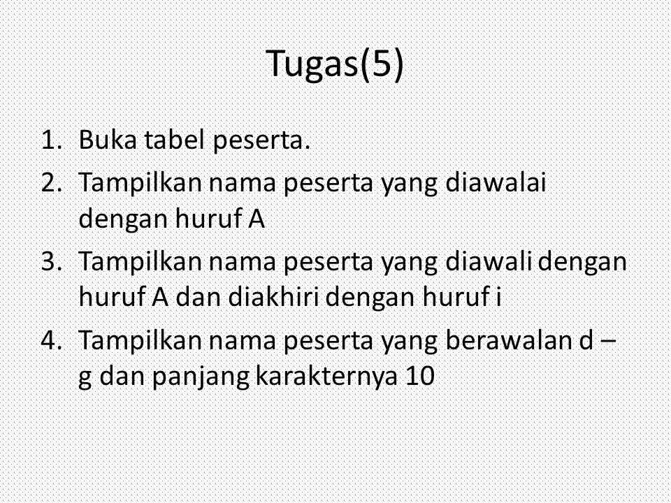 Tugas(5) Buka tabel peserta.