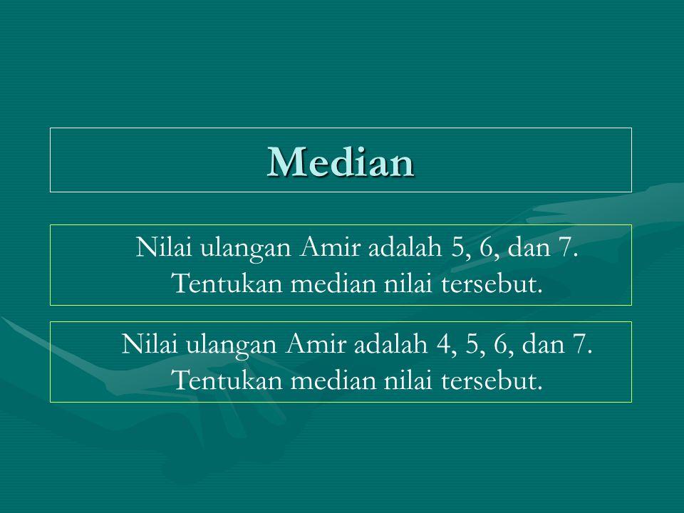 Median Nilai ulangan Amir adalah 5, 6, dan 7.