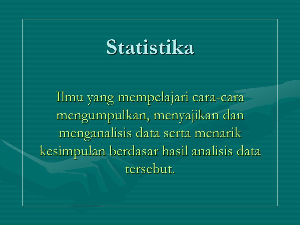 Statistika Ilmu yang mempelajari cara-cara mengumpulkan, menyajikan dan menganalisis data serta menarik kesimpulan berdasar hasil analisis data tersebut.