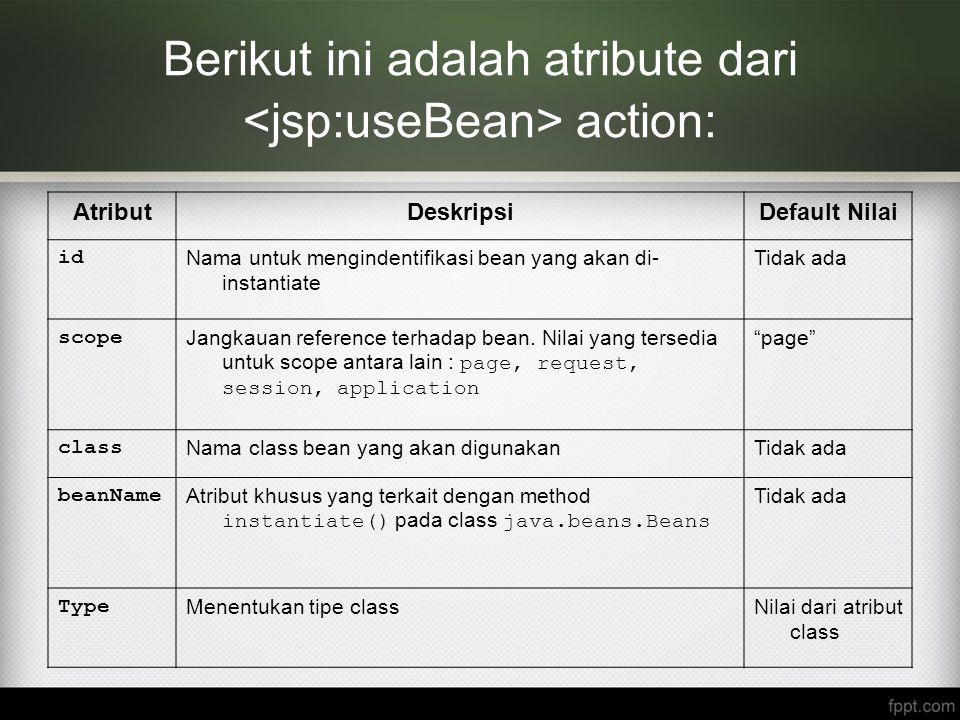 Berikut ini adalah atribute dari <jsp:useBean> action: