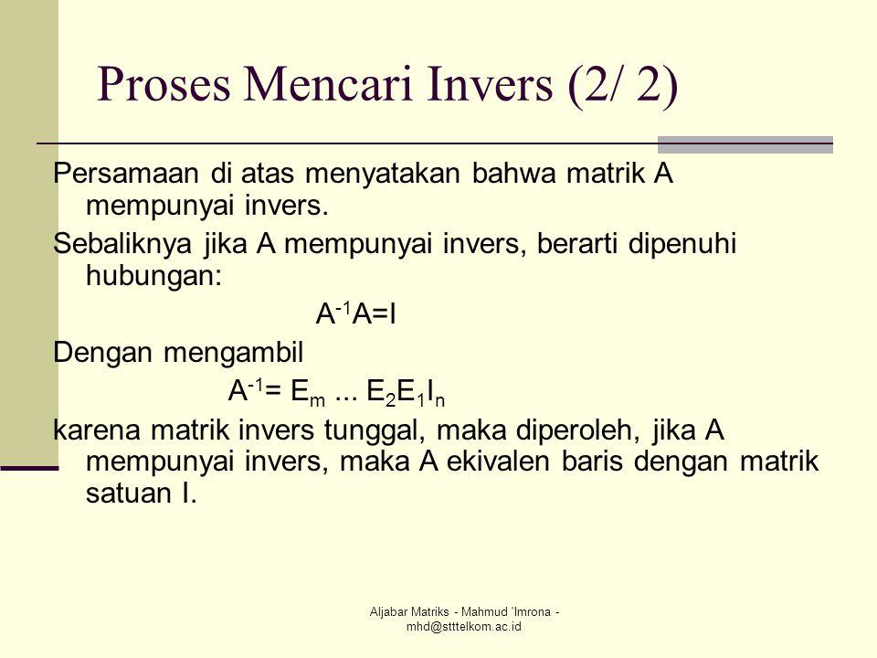 Proses Mencari Invers (2/ 2)