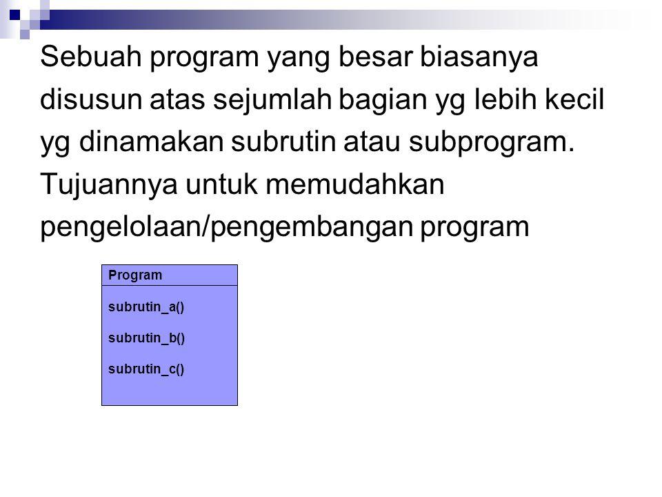 Sebuah program yang besar biasanya