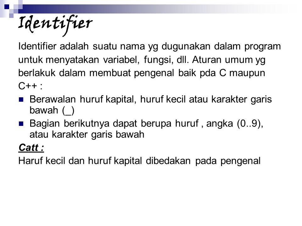 Identifier Identifier adalah suatu nama yg dugunakan dalam program