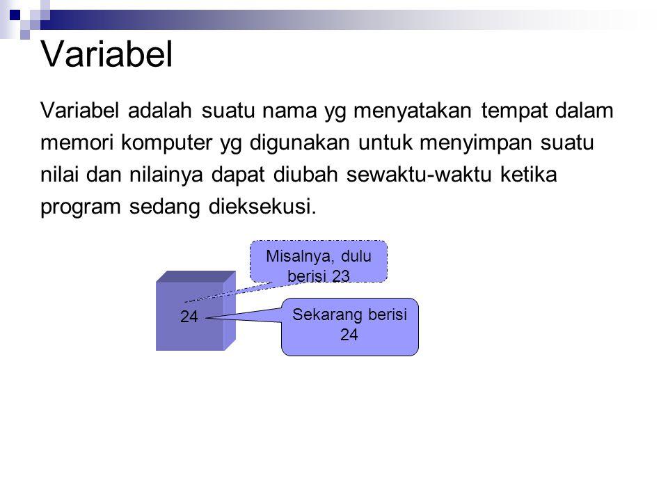Variabel Variabel adalah suatu nama yg menyatakan tempat dalam