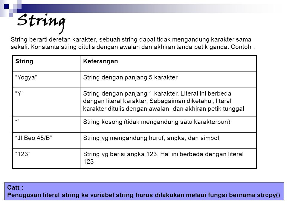 String String berarti deretan karakter, sebuah string dapat tidak mengandung karakter sama.