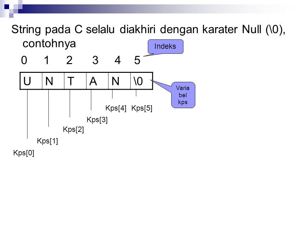 String pada C selalu diakhiri dengan karater Null (\0), contohnya