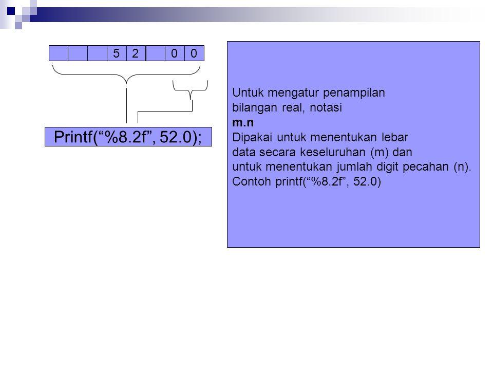 Printf( %8.2f , 52.0); Untuk mengatur penampilan bilangan real, notasi
