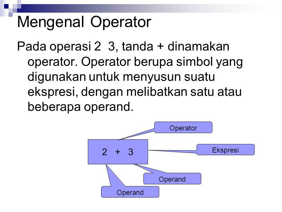 Mengenal Operator