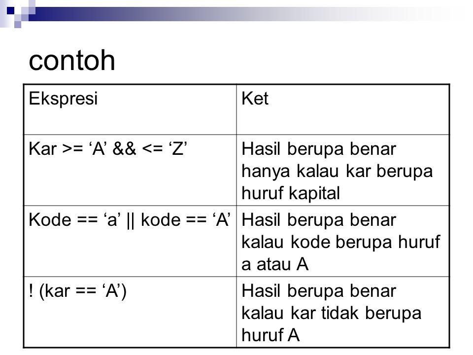 contoh Ekspresi Ket Kar >= 'A' && <= 'Z'