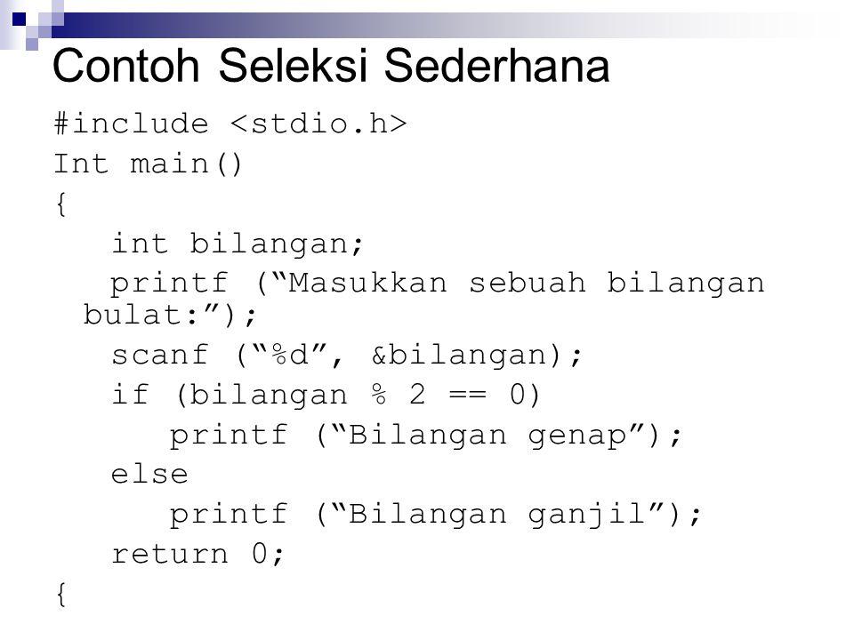 Contoh Seleksi Sederhana