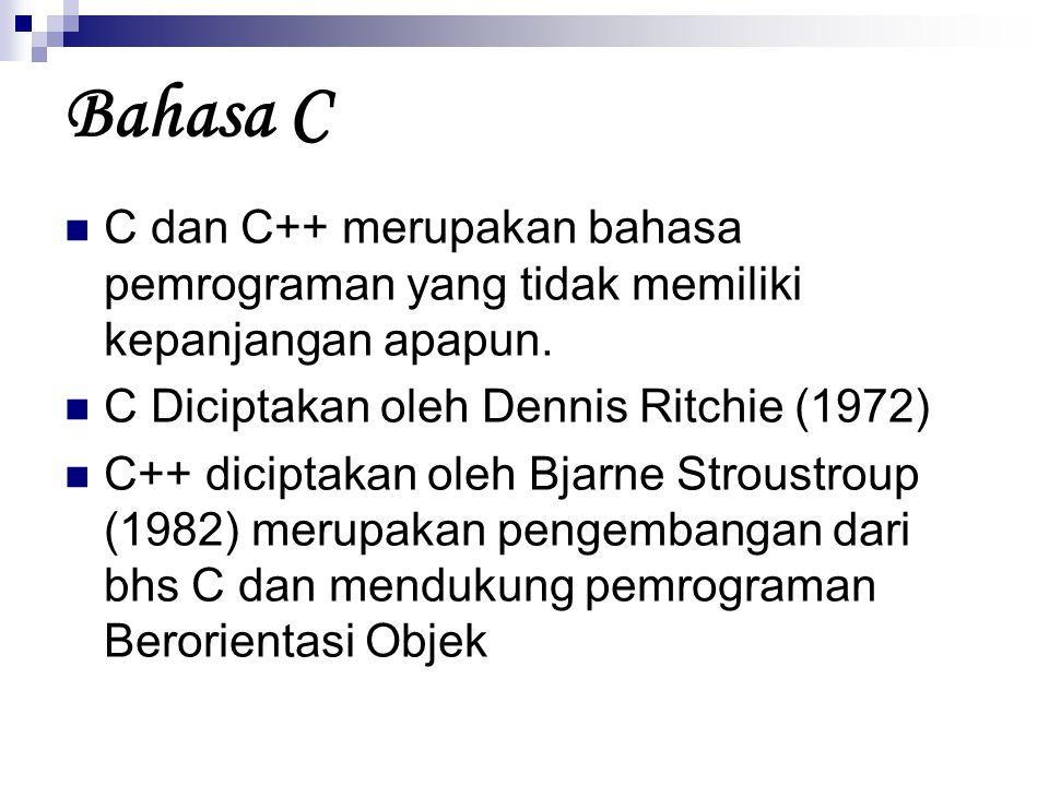 Bahasa C C dan C++ merupakan bahasa pemrograman yang tidak memiliki kepanjangan apapun. C Diciptakan oleh Dennis Ritchie (1972)