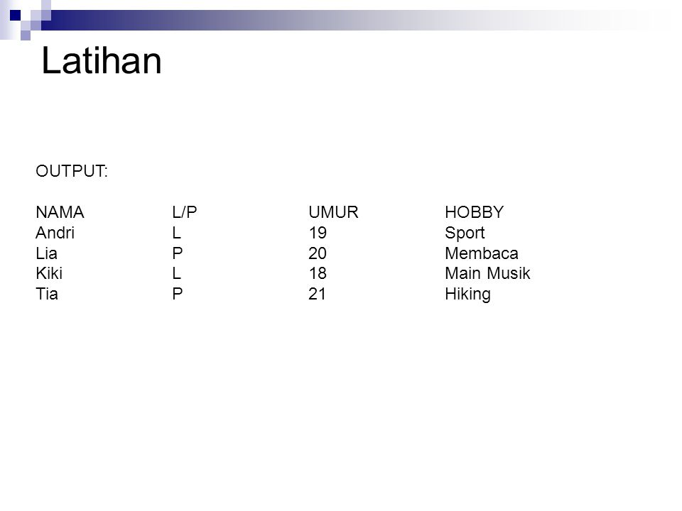 Latihan OUTPUT: NAMA L/P UMUR HOBBY Andri L 19 Sport Lia P 20 Membaca