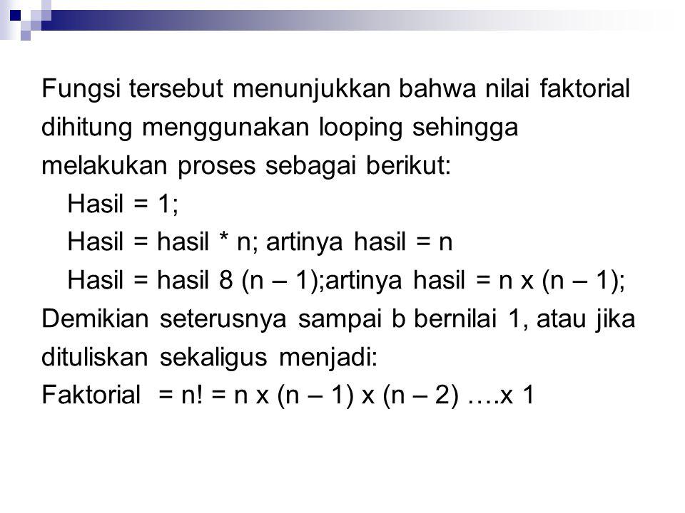 Fungsi tersebut menunjukkan bahwa nilai faktorial