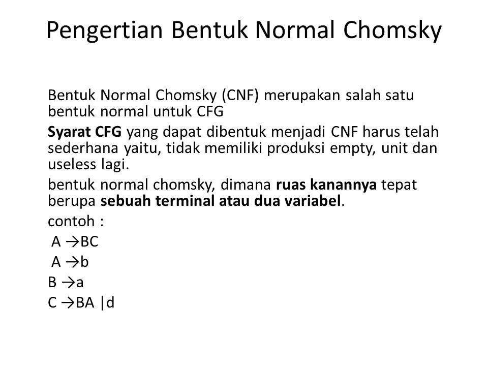Pengertian Bentuk Normal Chomsky