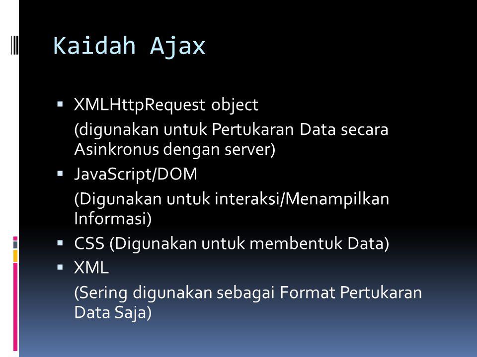 Kaidah Ajax XMLHttpRequest object