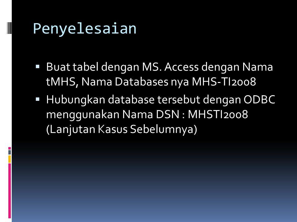 Penyelesaian Buat tabel dengan MS. Access dengan Nama tMHS, Nama Databases nya MHS-TI2008.