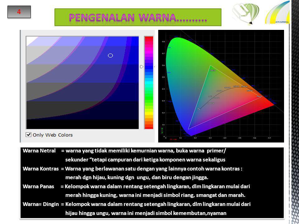 4 Pengenalan warna.......... Warna Netral = warna yang tidak memiliki kemurnian warna, buka warna primer/