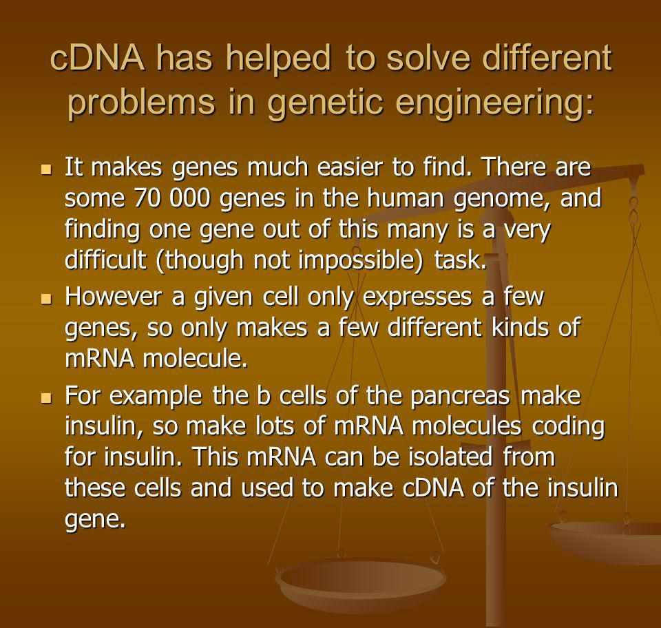 cDNA has helped to solve different problems in genetic engineering: