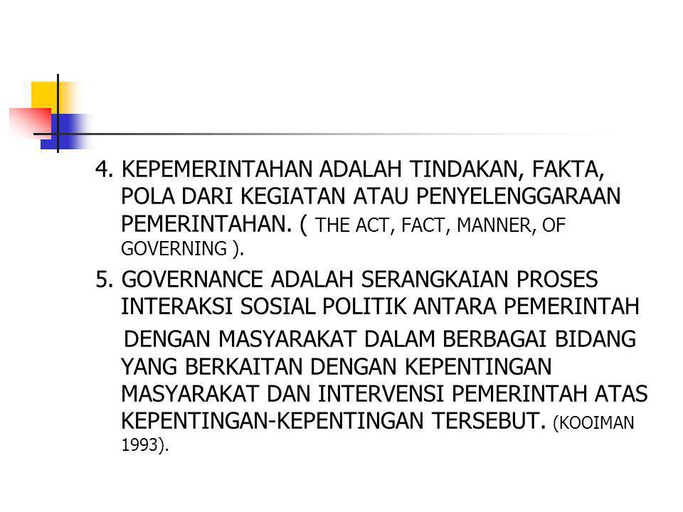 4. KEPEMERINTAHAN ADALAH TINDAKAN, FAKTA, POLA DARI KEGIATAN ATAU PENYELENGGARAAN PEMERINTAHAN. ( THE ACT, FACT, MANNER, OF GOVERNING ).
