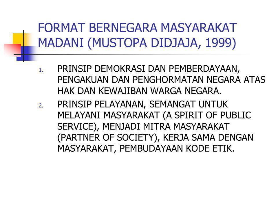 FORMAT BERNEGARA MASYARAKAT MADANI (MUSTOPA DIDJAJA, 1999)