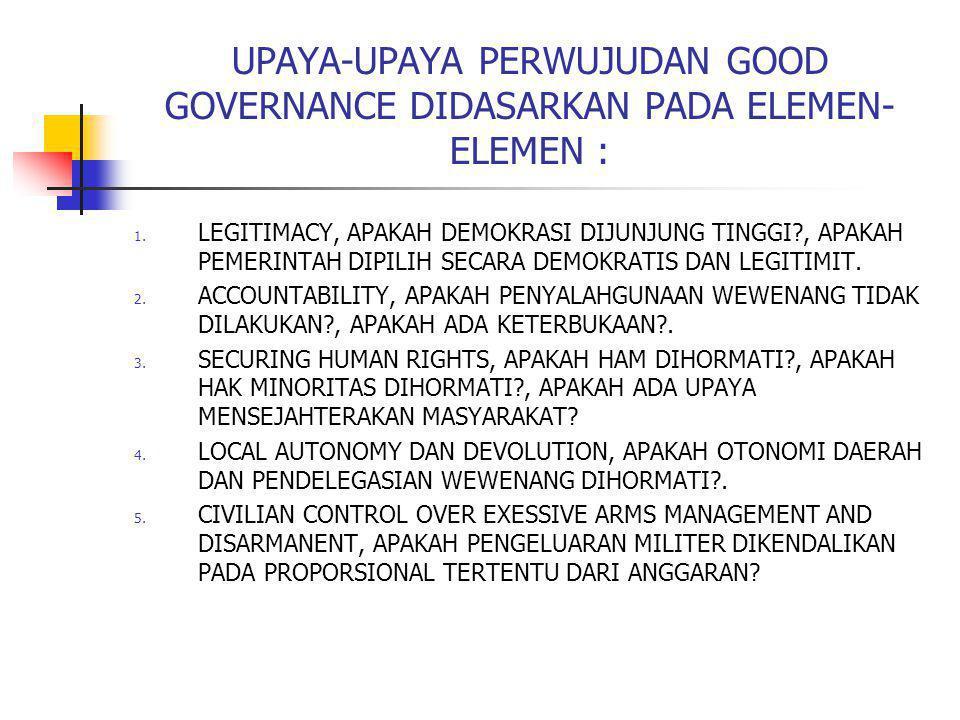 UPAYA-UPAYA PERWUJUDAN GOOD GOVERNANCE DIDASARKAN PADA ELEMEN-ELEMEN :