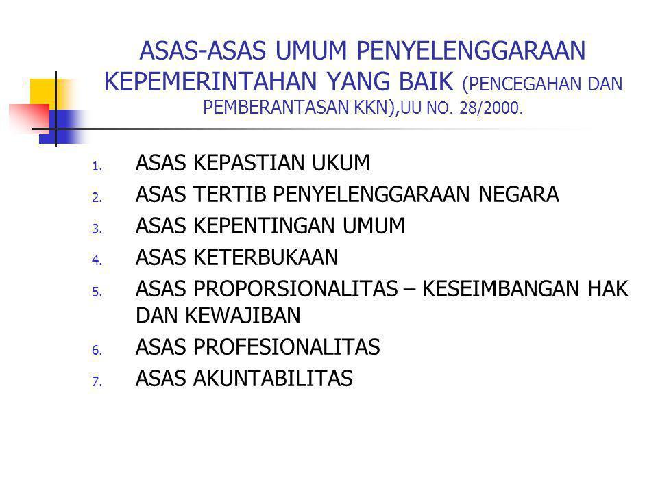 ASAS-ASAS UMUM PENYELENGGARAAN KEPEMERINTAHAN YANG BAIK (PENCEGAHAN DAN PEMBERANTASAN KKN),UU NO. 28/2000.