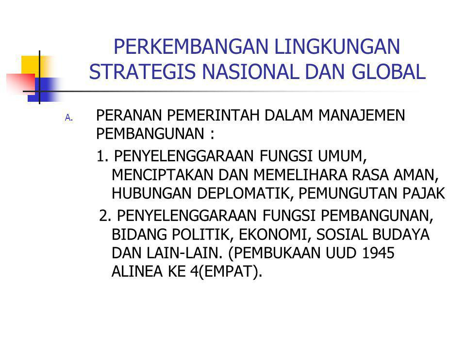 PERKEMBANGAN LINGKUNGAN STRATEGIS NASIONAL DAN GLOBAL