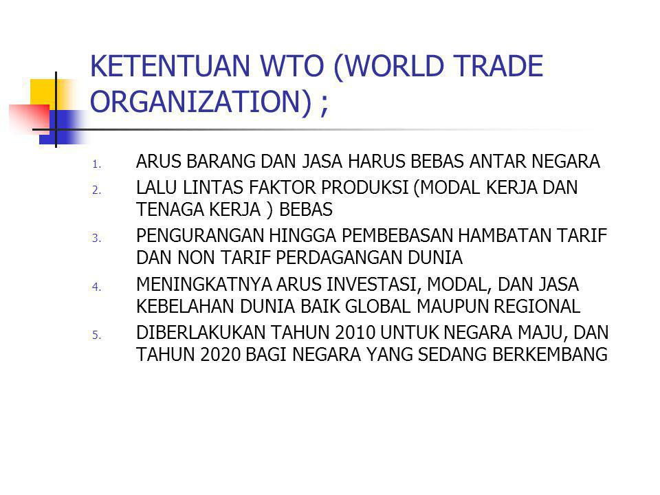 KETENTUAN WTO (WORLD TRADE ORGANIZATION) ;