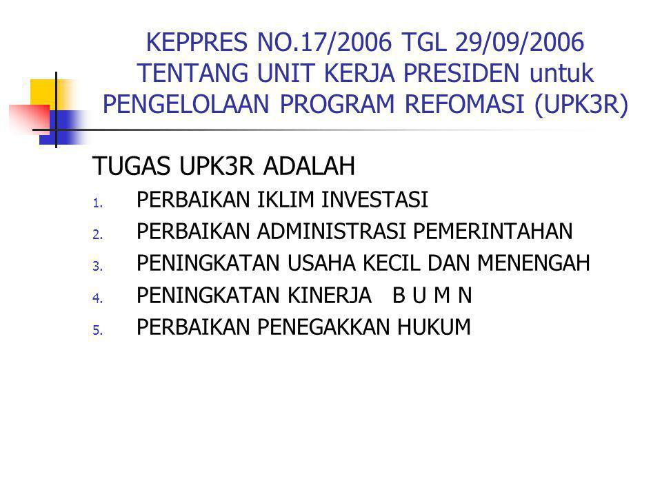 KEPPRES NO.17/2006 TGL 29/09/2006 TENTANG UNIT KERJA PRESIDEN untuk PENGELOLAAN PROGRAM REFOMASI (UPK3R)