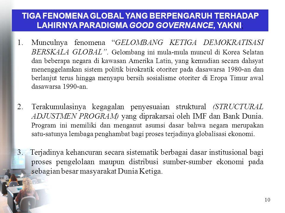 TIGA FENOMENA GLOBAL YANG BERPENGARUH TERHADAP LAHIRNYA PARADIGMA GOOD GOVERNANCE, YAKNI;