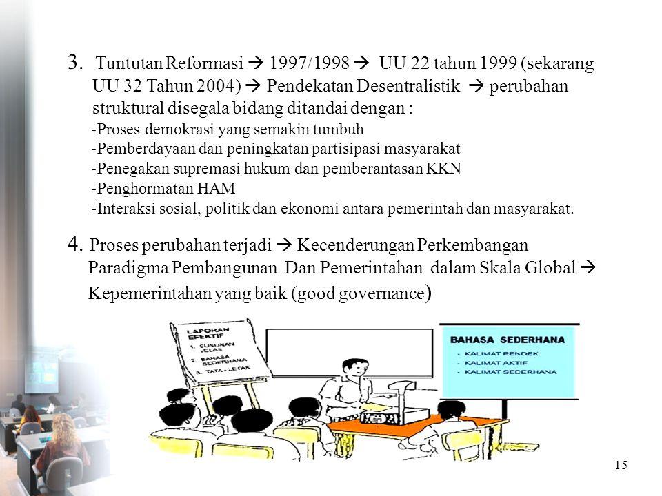 3. Tuntutan Reformasi  1997/1998  UU 22 tahun 1999 (sekarang UU 32 Tahun 2004)  Pendekatan Desentralistik  perubahan struktural disegala bidang ditandai dengan :