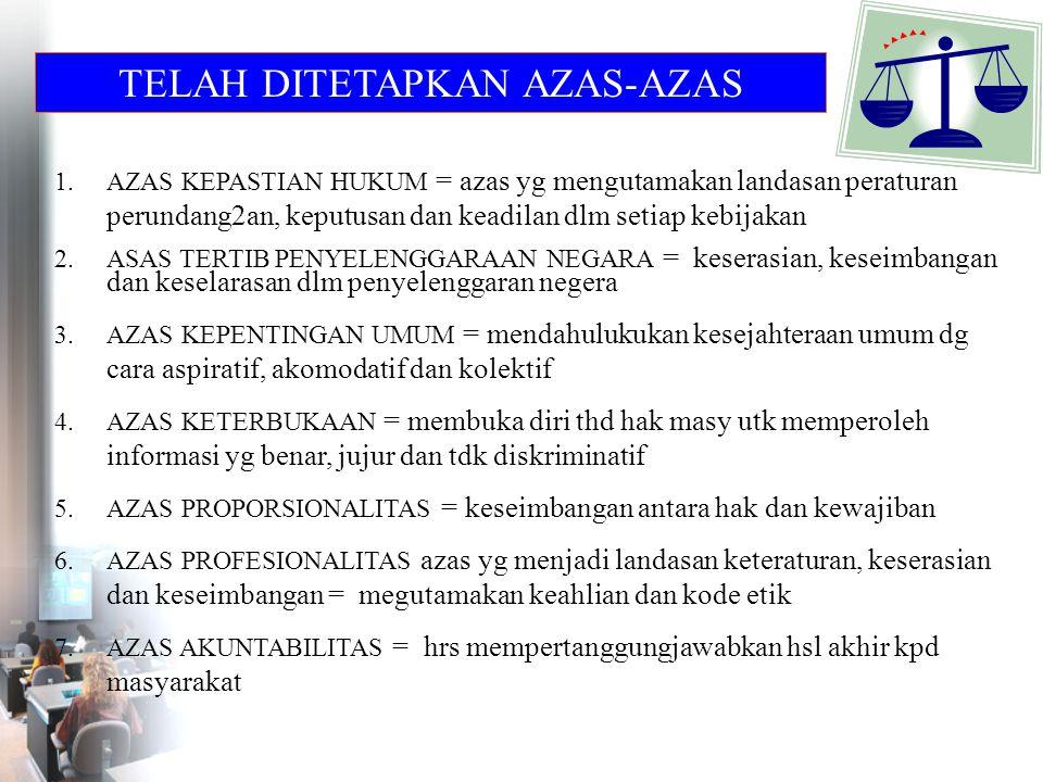 TELAH DITETAPKAN AZAS-AZAS